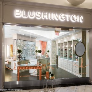 Professional makeup application in Orange County Blushington Fashion Island Exterior